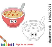 porridge smiley to be colored ... | Shutterstock .eps vector #1146310031