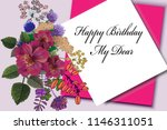 greeting birthday card with... | Shutterstock . vector #1146311051