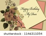 greeting birthday card with... | Shutterstock . vector #1146311054