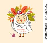 a cute owl with a wreath of... | Shutterstock .eps vector #1146326657
