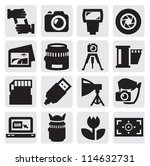 vector black camera icon set on ... | Shutterstock .eps vector #114632731