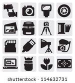 vector black camera icon set on ... | Shutterstock .eps vector #114632731