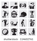 vector black golf icon set on...