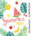 colorful summer poster with... | Shutterstock .eps vector #1146341564