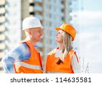 female and male construction... | Shutterstock . vector #114635581