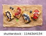homemade waffles with berries... | Shutterstock . vector #1146364154