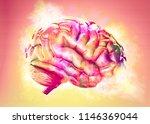 colorful brain exploding. 3d... | Shutterstock . vector #1146369044