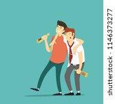 two drunk men. vector... | Shutterstock .eps vector #1146373277
