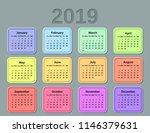 2019 calendar with months of... | Shutterstock .eps vector #1146379631