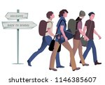 four teenage boys going back to ... | Shutterstock .eps vector #1146385607