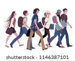gang of teenage students going... | Shutterstock .eps vector #1146387101