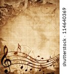Old Music Sheet With Musical...
