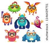 cute cartoon monsters in glasses