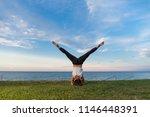 young girl practice yoga... | Shutterstock . vector #1146448391
