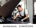 a young and qulified mechanic... | Shutterstock . vector #1146451034