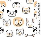 set of cute animals. character. ... | Shutterstock .eps vector #1146463787