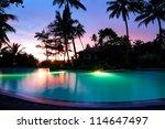 Sunset And Illuminated Swimming ...