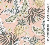 tropical pineapple  plumeria... | Shutterstock .eps vector #1146486284