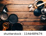 top view of wooden rustic table ... | Shutterstock . vector #1146489674