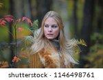 beautiful blonde in an autumn... | Shutterstock . vector #1146498761