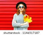 stylish autumn woman holds... | Shutterstock . vector #1146517187