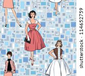 stylish fashion dressed girls ...   Shutterstock .eps vector #114652759