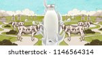 farm fresh milk with splashing... | Shutterstock .eps vector #1146564314