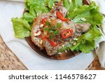 asian pan fried pork chop with... | Shutterstock . vector #1146578627
