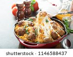 baked meatballs with spaghetti  ... | Shutterstock . vector #1146588437