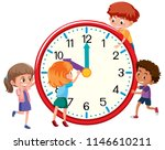 children around a clock... | Shutterstock .eps vector #1146610211