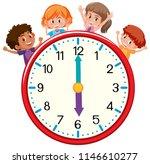 happy children with clock... | Shutterstock .eps vector #1146610277