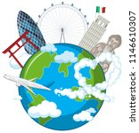 landmarks on globe with... | Shutterstock .eps vector #1146610307