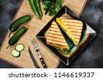top view of sandwich toast with ... | Shutterstock . vector #1146619337