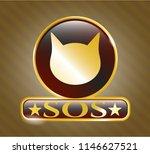golden emblem with cat face... | Shutterstock .eps vector #1146627521