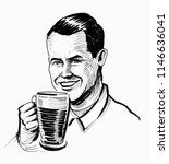 man drinking a beer. ink black... | Shutterstock . vector #1146636041