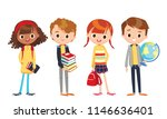 group of pupils standing... | Shutterstock .eps vector #1146636401