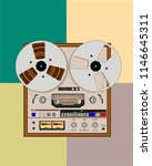 old bobbin tape recorder with...   Shutterstock .eps vector #1146645311