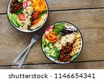 two buddha bowl. clean and...   Shutterstock . vector #1146654341
