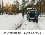 group friends in winter wear on ... | Shutterstock . vector #1146657971