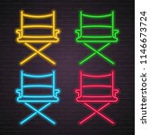 director chair icon set neon... | Shutterstock .eps vector #1146673724