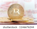 golden bitcoins against 5000... | Shutterstock . vector #1146676244