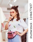 that consumerism. stylish woman ... | Shutterstock . vector #1146677657