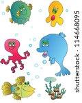 cute marine animals collection. ... | Shutterstock . vector #114668095