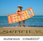 caucasian girl with hat and... | Shutterstock . vector #1146683237