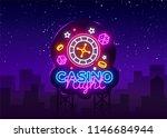 casino night neon logo vector.... | Shutterstock .eps vector #1146684944