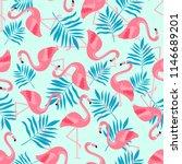flamingo bird and tropical... | Shutterstock .eps vector #1146689201