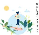 running in city park. woman... | Shutterstock .eps vector #1146691157