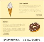 ice cream and chocolate donut.... | Shutterstock .eps vector #1146710891