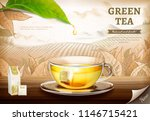 green tea bag ads with 3d... | Shutterstock .eps vector #1146715421