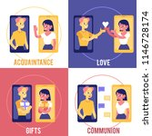 flat love chat  online dating... | Shutterstock .eps vector #1146728174